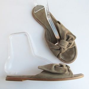 Madewell | Naida Taupe Suede Half Bow Sandals